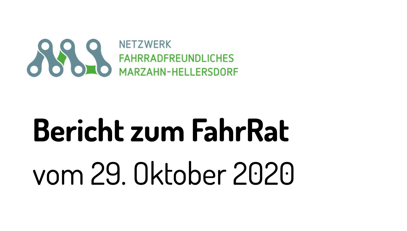 Bericht vom FahrRat Oktober 2020