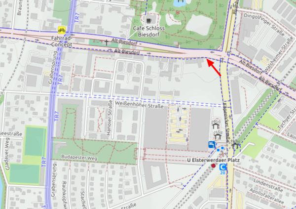 Kartenausschnitt der entsprechenden Kreuzung